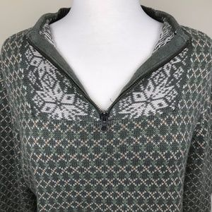Olive Green Fair Isle Pullover Zip Neck Sweater